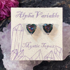 Mystic Topaz Heart Earrings - Earrings - AlphaVariable