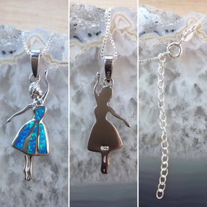 Blue Opal Ballerina Necklace - Necklace - AlphaVariable