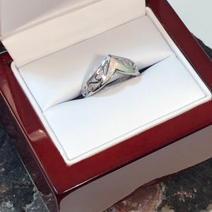 Opal Chevron Ring + Wood Gift Box