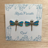 Opal Dragonfly Earrings - Sterling Silver Studs - AlphaVariable