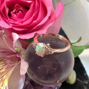 Rose Gold Opal Engagement Ring - Ring - AlphaVariable