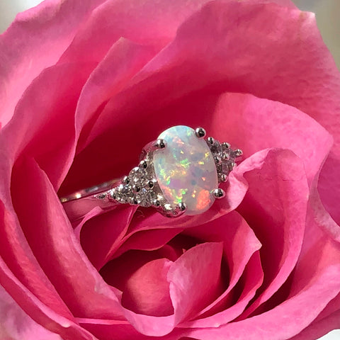 Opal Engagement Ring Sterling Silver Lab Opal Ring in a Pink Rose