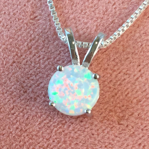 opal necklace sterling silver