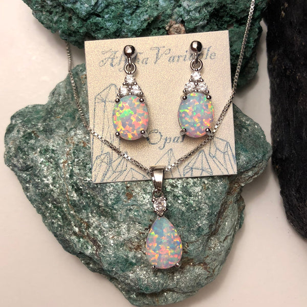 Opal Earrings + Necklace Set