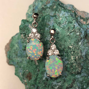 Opal Earrings + Necklace Set - Jewelry Sets - AlphaVariable