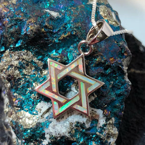Opal Star of David Necklace - Necklace - AlphaVariable