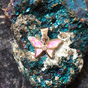 Pink Opal Butterfly Necklace - Necklace - AlphaVariable