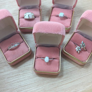 Pink Opal Crown Ring + Pink Velvet Gift Box