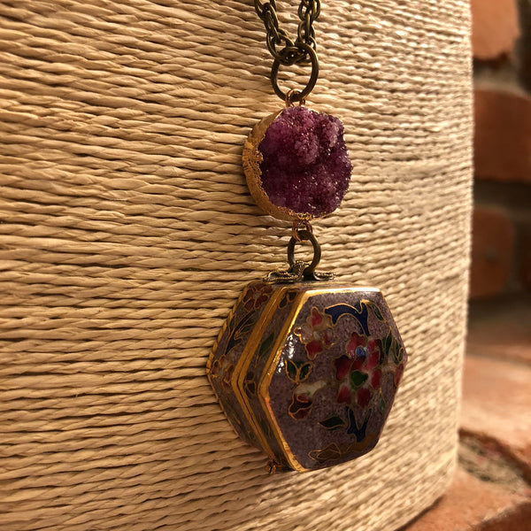 Druzy + Cloisonne Pill Box Necklace - Necklace - AlphaVariable