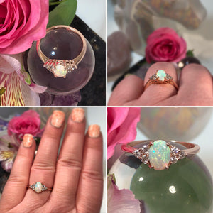 Rose Gold Diamond Opal Ring - Ring - AlphaVariable