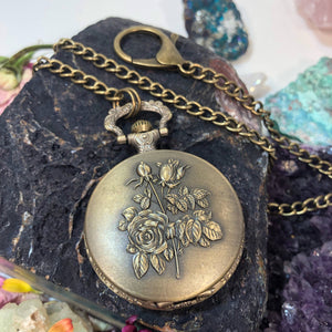 Rose Pocket Watch - Pocket Watch Necklace - AlphaVariable