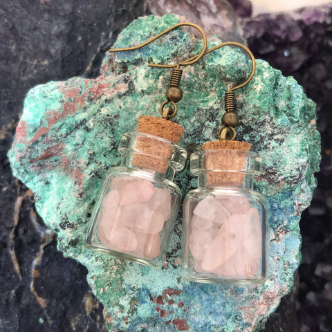 Rose Quartz Apothecary Bottle Earrings