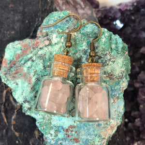 Rose Quartz Apothecary Vial Earrings - Earrings - AlphaVariable