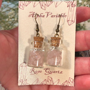 Rose Quartz Apothecary Bottle Earrings - Earrings - AlphaVariable