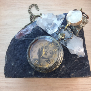 Steampunk Gear & Druzy Marilyn Monroe Pocket Watch Necklace - Pocket Watch Necklace - AlphaVariable