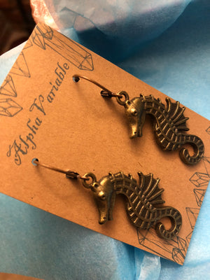 Bronze Seahorse Earrings - Earrings - AlphaVariable