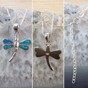 Sterling Silver Opal Dragonfly Necklace - Necklace - AlphaVariable