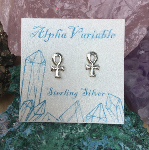 ankh earrings sterling silver studs alphavariable jewelry