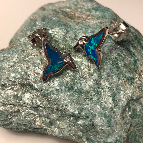 Blue Opal Hummingbird Earrings - Sterling Silver Studs - AlphaVariable