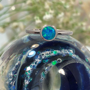 Blue Opal Circle Ring - Ring - AlphaVariable