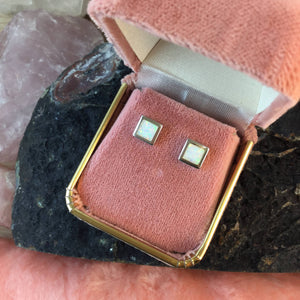 Square Opal Earrings - Earrings - AlphaVariable