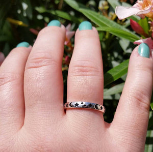 Moon and Star Ring - Sterling Silver Rings - AlphaVariable