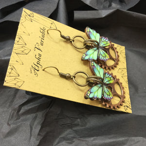 Steampunk Butterfly Gear Earrings