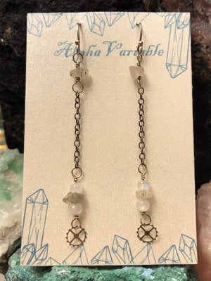 Moonstone Gear Earrings