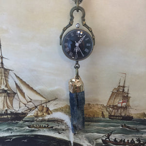 Kyanite Pocket Watch Necklace - Necklace - AlphaVariable