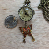 Butterfly Pocket Watch Necklace - Necklace - AlphaVariable