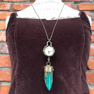 Turquoise Horn Pocket Watch Necklace