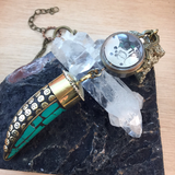 Turquoise Horn Pocket Watch Necklace - Pocket Watch Necklace - AlphaVariable