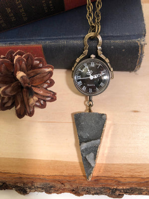 Druzy Pocket Watch Necklace - Pocket Watch Necklace - AlphaVariable