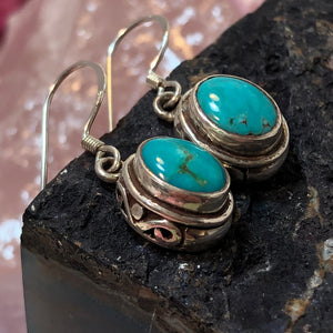 Turquoise Earrings Sterling Silver - Earrings - AlphaVariable