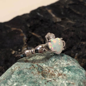 Opal Claddagh Ring - Ring - AlphaVariable
