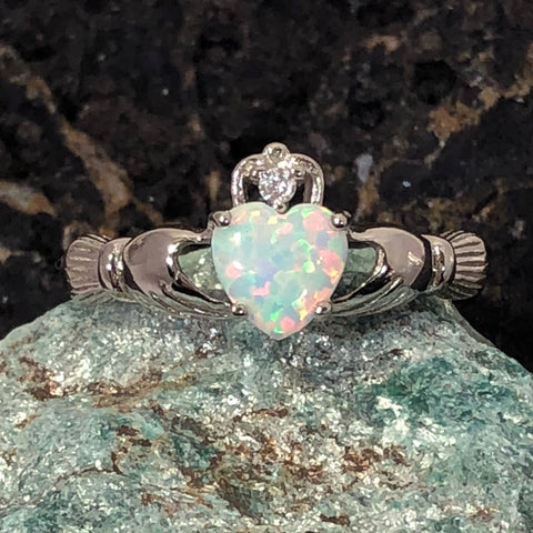 White Opal Claddagh Ring