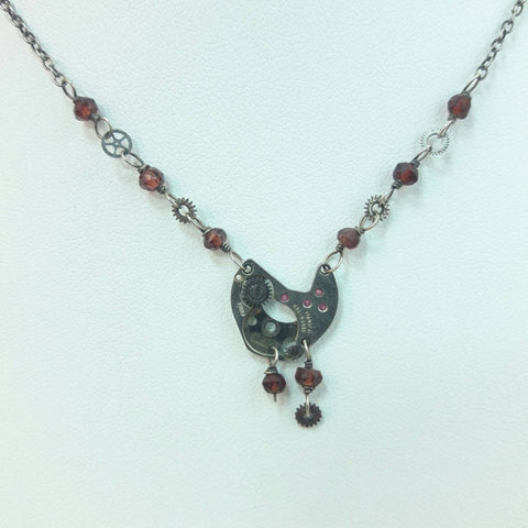 Garnet Steampunk Necklace - Necklace - AlphaVariable