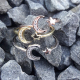 Rose Gold Moon and Star Ring -  - AlphaVariable