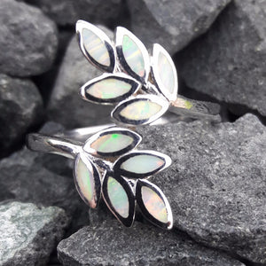 Opal Leaf Ring Sterling Silver - Ring - AlphaVariable