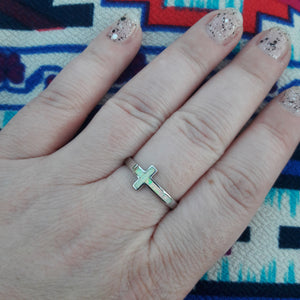 Sterling Silver Opal Cross Ring - Rings - AlphaVariable