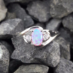 Sterling Silver Pink Opal Ring - Rings - AlphaVariable