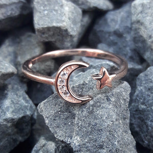 Rose Gold Moon and Star Ring - Ring - AlphaVariable