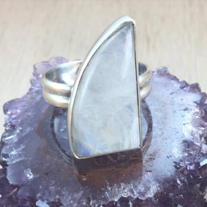 Sterling Silver Moonstone Ring - Sterling Silver Rings - AlphaVariable