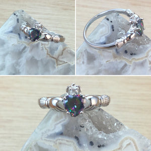 Mystic Topaz Claddagh Ring - Ring - AlphaVariable