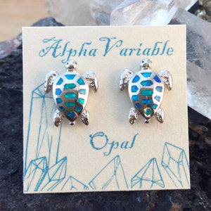 Sterling Silver Turtle Opal Earrings - Earrings - AlphaVariable