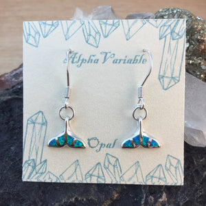 Sterling Silver Opal Whale Tail Earrings - Earrings - AlphaVariable