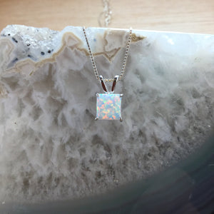 Sterling Silver Square Opal Necklace - Necklace - AlphaVariable