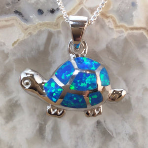 Sterling Silver Opal Turtle Necklace - Necklace - AlphaVariable