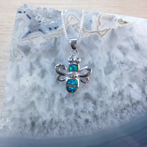 Sterling Silver Opal Bee Necklace - Necklace - AlphaVariable