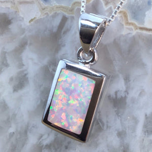 Sterling Silver Opal Necklace - Necklace - AlphaVariable